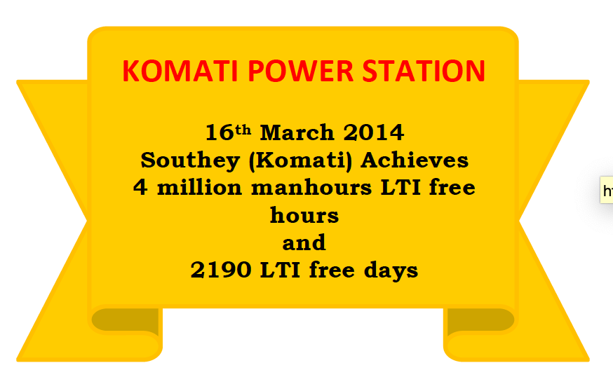 Komati Power Station 2190 LTI free days
